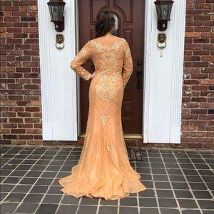 Art Deco Lace Beaded Mermaid Prom Dress Formal